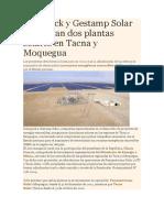 Solarpack y Gestamp Solar Inauguran Dos Plantas Solares en Tacna y Moquegua