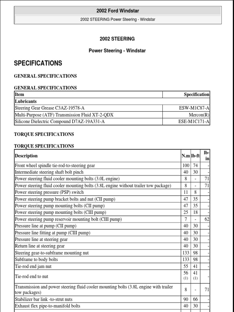 1999 FORD WINDSTAR Service Repair Manual.pdf | Steering | Automotive  Industry
