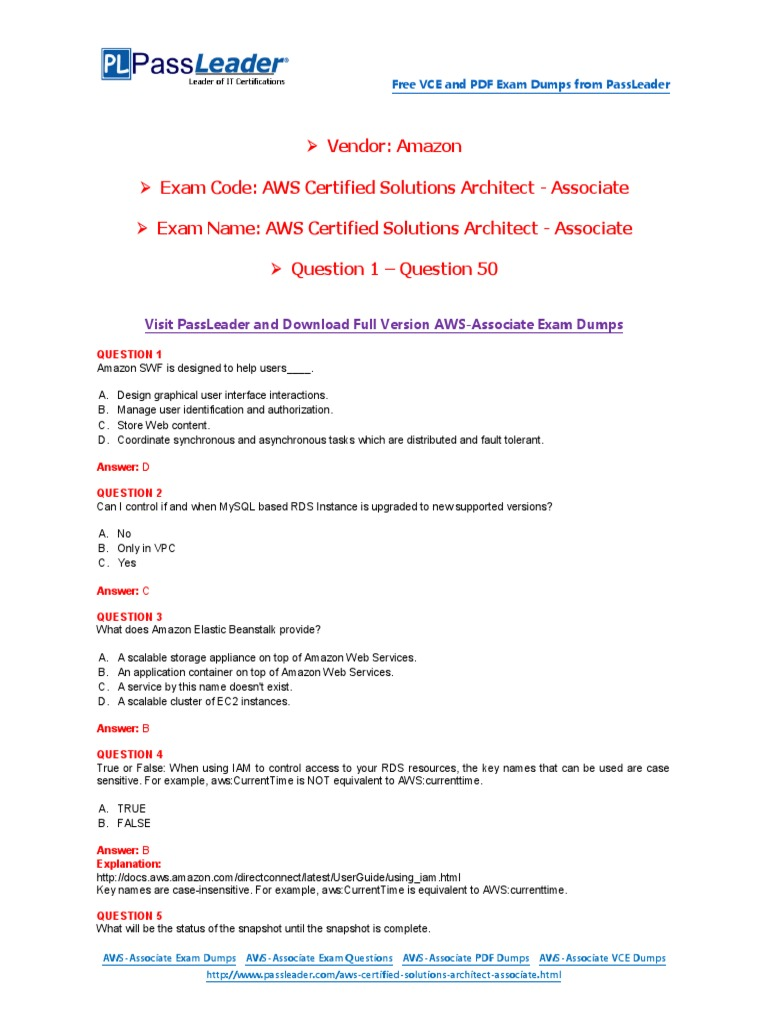 Aws certified solutions architect associate exam dumps with pdf aws certified solutions architect associate exam dumps with pdf and vce download 1 50 oracle database transport layer security xflitez Gallery