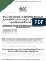 Presença Polínica Em Amostras de Mel de Apis Melliferas Do Município de Terra Roxa, Região Oeste Do Paraná, Brasil - ABZ