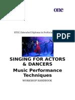 Singing for Actors - Handbook Update 2017