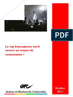 Analyse ARC Rap Francophone Contestataire- 20131