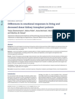 Differences in Emotional Responses in Living and Deceased Donor Kidney Transplant Patients