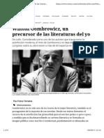 +Terradas, F - Wiltold Gombrowicz, un precursor de las literaturas del yo - revista Ñ