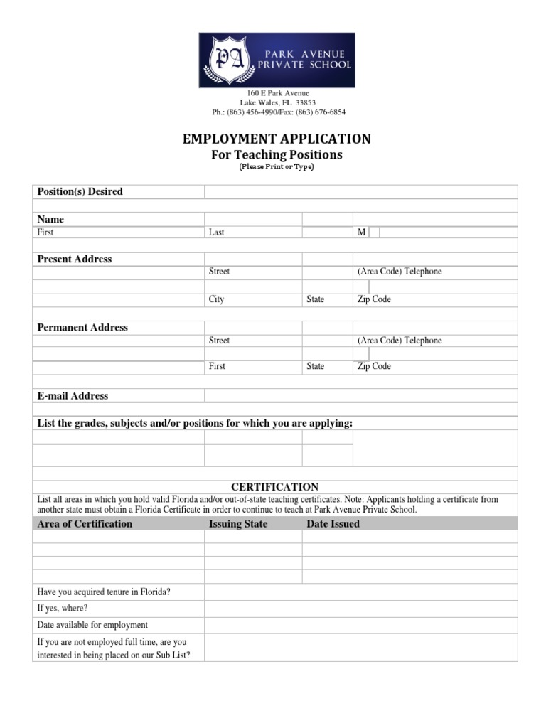 paps employment application teachers teachers government