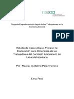 Estudio de Caso sobre el Proceso de Elaboración de la Ordenanza de los Trabajadores del Comercio Ambulatorio de Lima Metropolitana