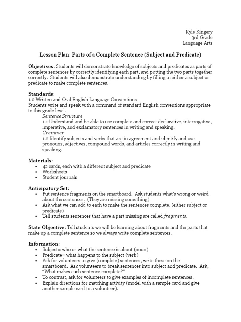 worksheet Complete Subject And Predicate Worksheets tech lesson plan 1 subject grammar predicate grammar