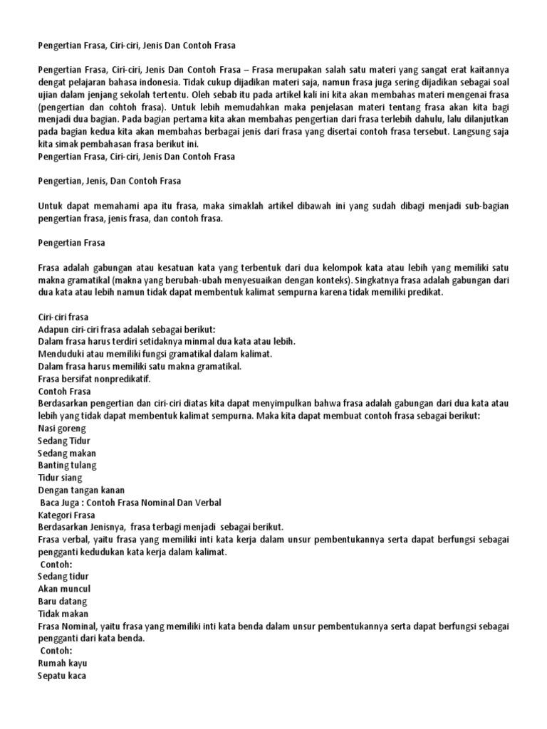 Pengertian Frasa Bahasa Indonesia