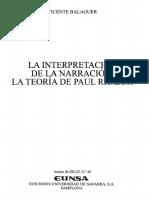 Balaguer Vicente - La Interpretacion de La Narracion - La Teoria de Paul Ricoeur
