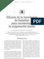 Eficacia de la transfusio¦ün de hemati¦ües para incrementar la oxigenacio¦ün tisular
