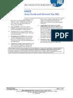 Bill Summary - Union Territory Goods and Service Tax Bill, 2017