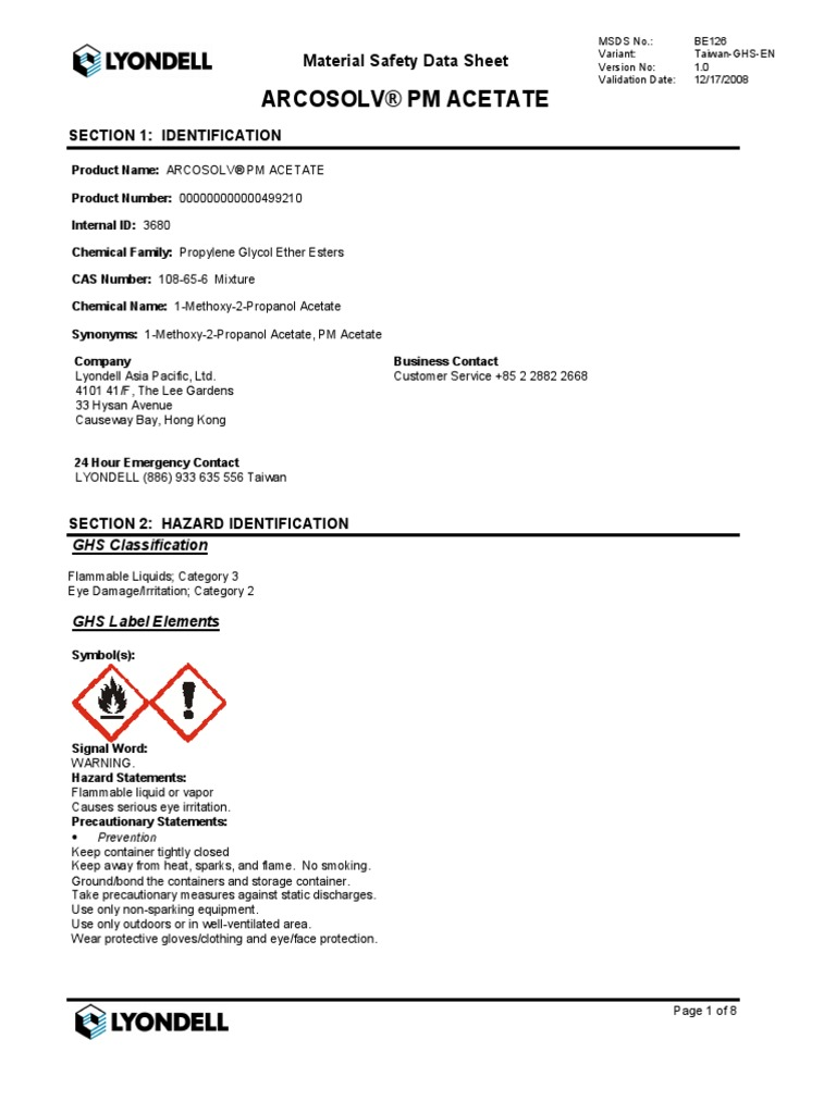 Pm acetate msds 12 17 08 combustion toxicity buycottarizona Images