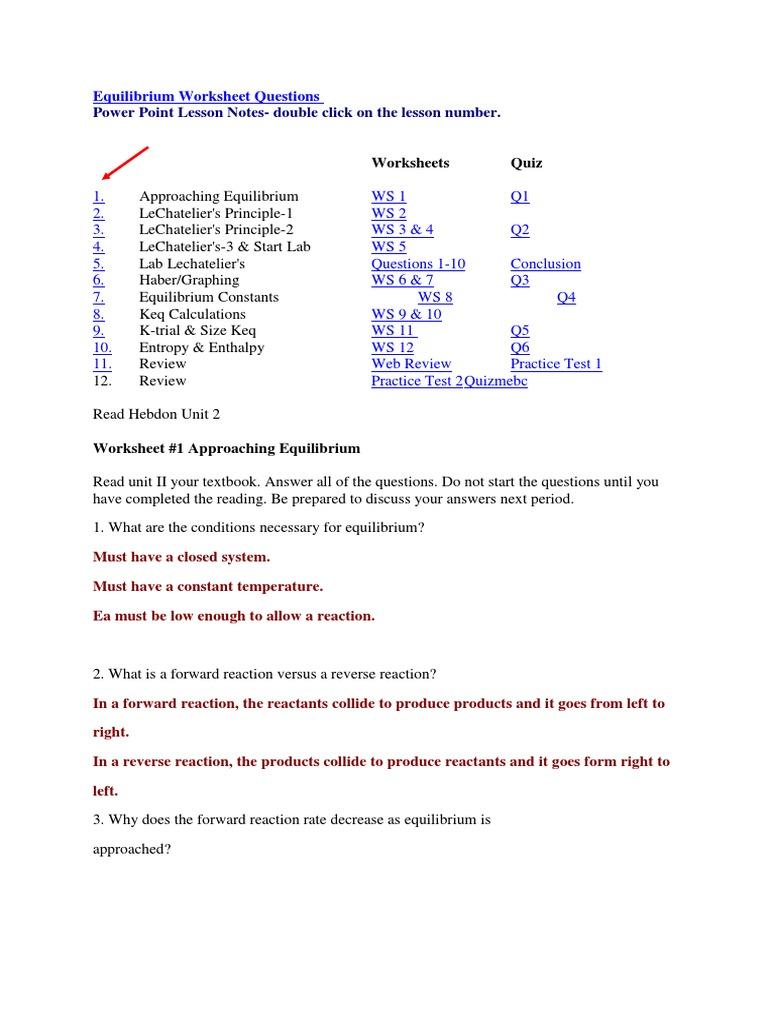 Tom Schoderbek Chemistry: Keq Worksheet