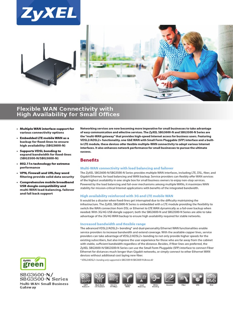 ZyXEL SBG3600-N/SBG3500-N Series Multi-WAN Small Business
