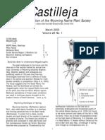Mar 2003 Castilleja Newsletter, Wyoming Native Plant Society