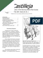 Mar 2007 Castilleja Newsletter, Wyoming Native Plant Society