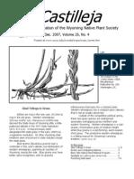 Dec 2007 Castilleja Newsletter, Wyoming Native Plant Society