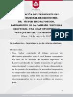 Presentación Del Presidente Del Jurado Nacional de Elecciones Dr Víctor Ticona Postigo Lanzamiento de La Campaña Reforma Electoral Una Gran Oportunidad Para Que Hagas Tus Propuestas
