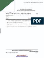 Pmr 2011 Mathematics Paper 1, 2