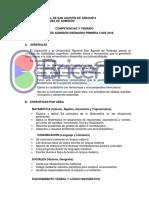 Competencias y Temario Admision 2018