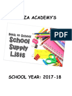 Hamza Academy Supply List 2017-2018