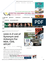 1000 a-Z List of Synonym and Antonym for NDA, CDS, AFCAT