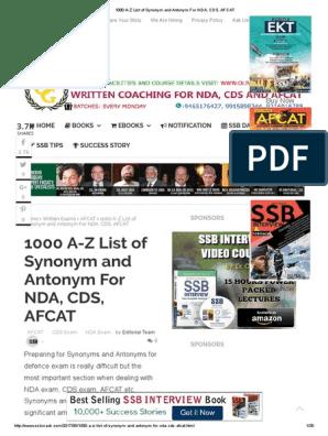 1000 a-Z List of Synonym and Antonym for NDA, CDS, AFCAT