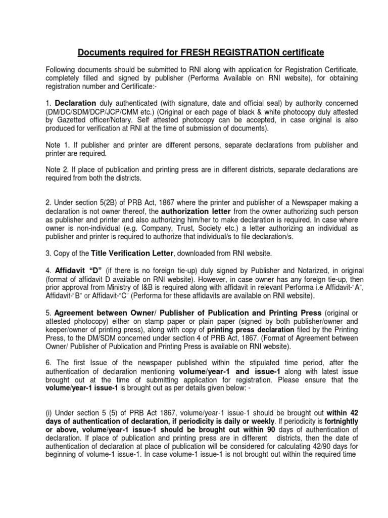 fresh registration certificate notary public written communication
