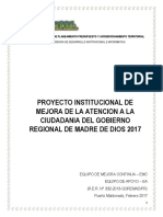 Proyecto Institucional de Mejora de La Atencion a La Ciudadania Del Goremad 2017