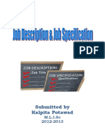 Job Description and Specification