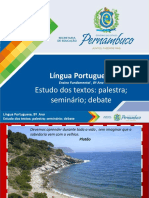 Língua Portuguesa, estudo dos textos, linguagem e debate - 8º Ano