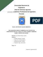 Declaración de impacto ambiental de un proyecto de reforestación