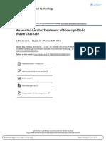 Anaerobic Aerobic Treatment of Municipal Solid Waste Leachate