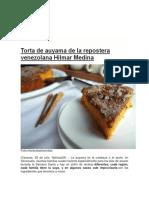 Torta de Auyama de La Repostera Venezolana Hilmar Medina