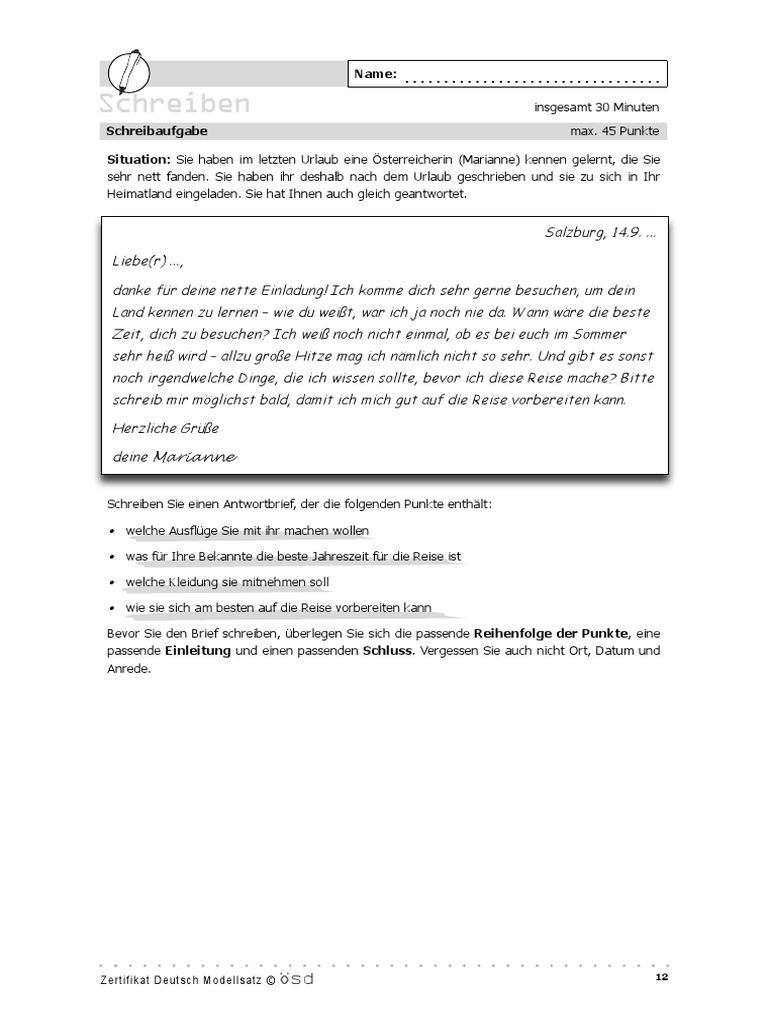 Schreiben urlaub brief deutsch Einen persönlichen