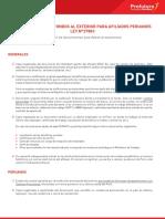 Transferencia Fondos Exterior Afiliados Peruanos LEY N 27883