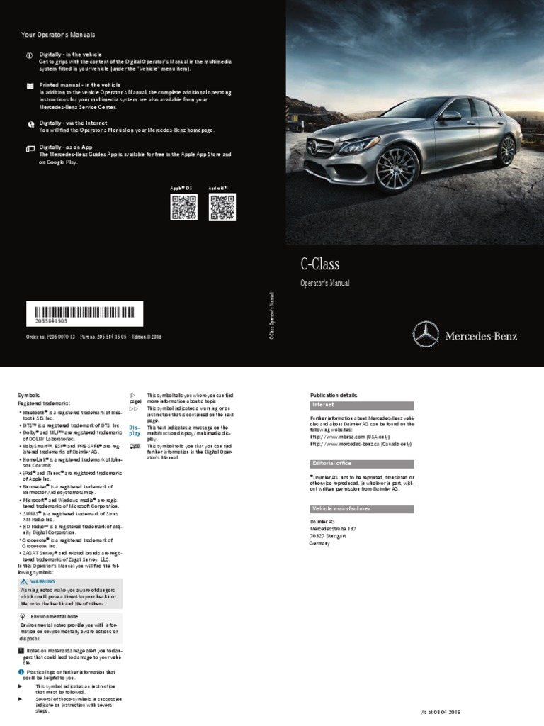 C-class Operator's Manual | Automatic Transmission | Anti Lock