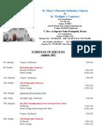 8. Schedule of Divine Services - August, 2017
