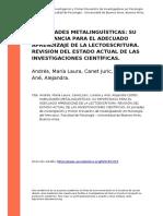 Habilidades Metalinguisticas Su Importancia Para El Adecuado Aprendizaje de La Lectoes (..)