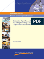 Discussion Paper for Auditor's Role Regarding Providing Assurance on Corporate Governance Statements