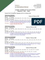 CCA Course Dates Semester 1 2017-18
