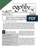 January-February 2003 Sego Lily Newsletter, Utah Native Plant Society