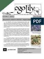 July-August 2004 Sego Lily Newsletter, Utah Native Plant Society