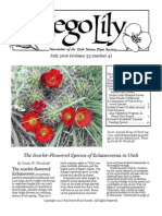 July-August 2010 Sego Lily Newsletter, Utah Native Plant Society