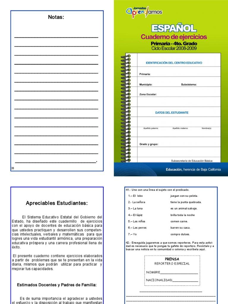 Español. Cuaderno de ejercicios. Primaria. 4to Grado