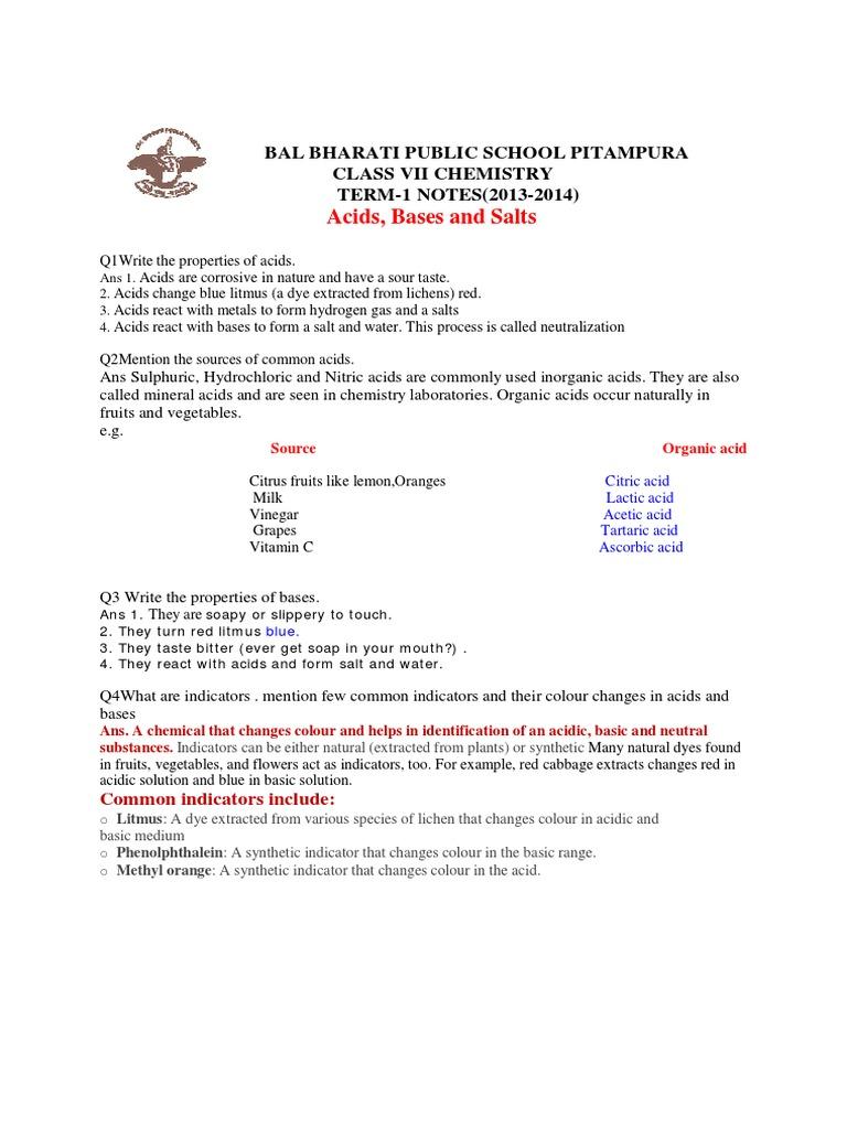 worksheet Note Taking Worksheet Acids Bases And Salts class7 acids bases term1 acid salt chemistry