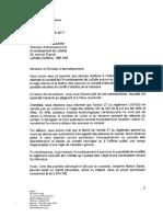 Lettre du ministère des Affaires municipales