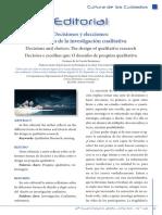 DECISIONES Y ELECCIONES. El Diseño de La Investigación Cualitativa. Carmen de La Cuesta