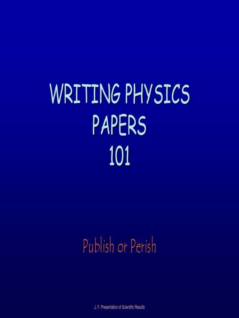 Writing Physics Papers Pdf
