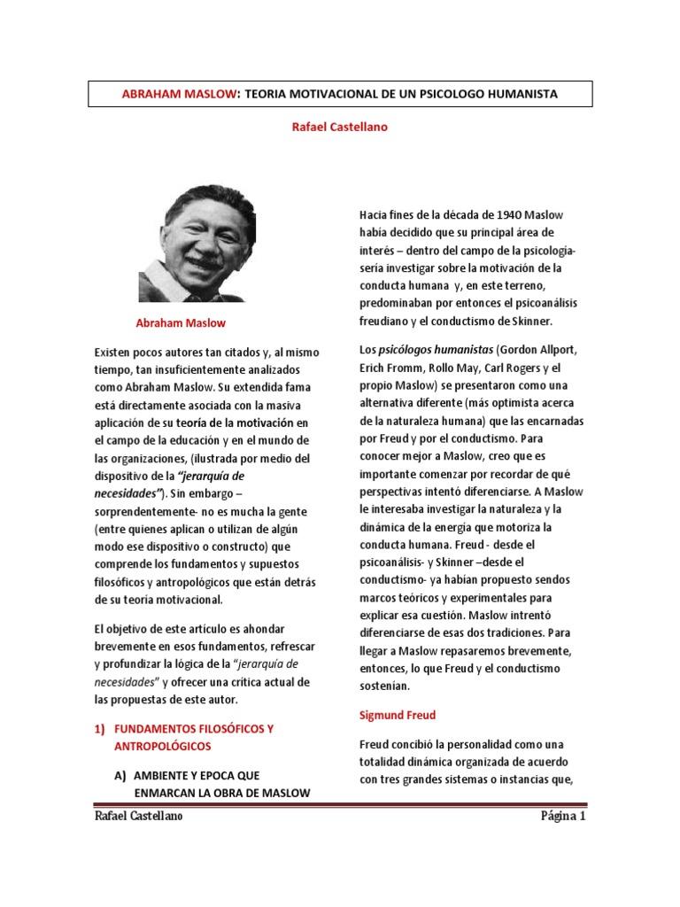 Abraham Maslow Teoria Motivacional De Un Psicologo Humanista Pdf